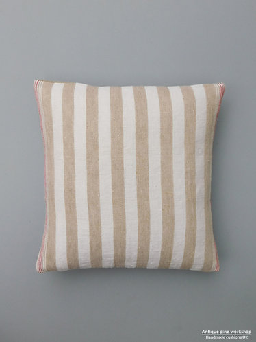 Vintage French striped linen cushion cover