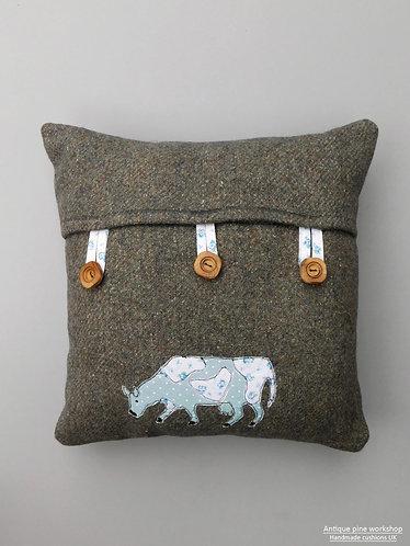 Vintage tweed wool fabric cushion cover