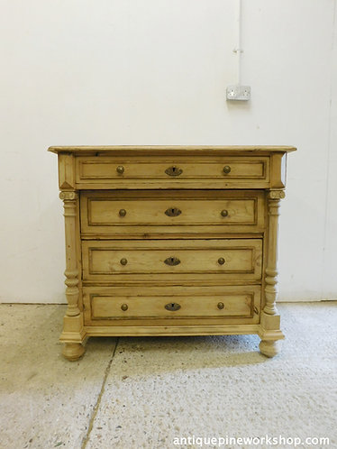 Old antique pine chest of drawers with columns