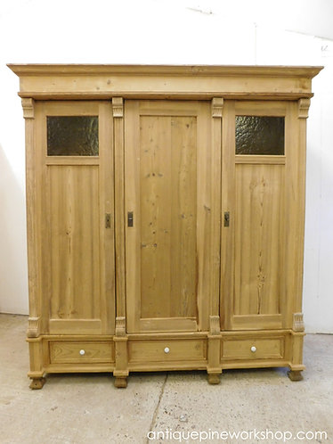 antique triple pine wardrobe