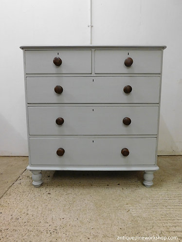 Victorian English antique pine painted chest of drawers