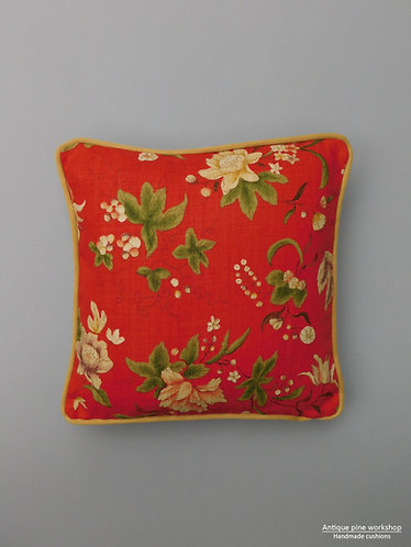 Vintage cushion cover Gp & J Baker Queen Anne Chinese red fabric