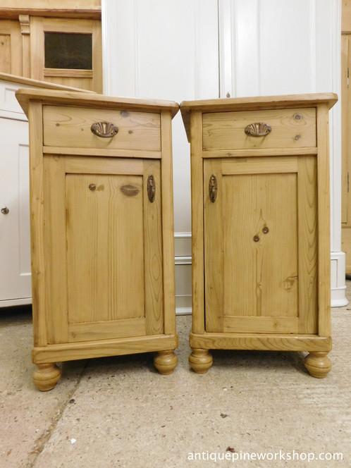Antique Pine Bedside Cupboards