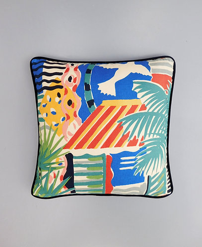 Vintage Collier Campbell Cote d'Azur fabric 80's cushion cover