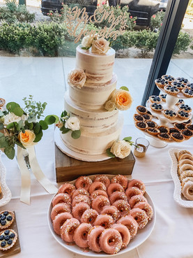 Semi Naked Wedding cake and donuts