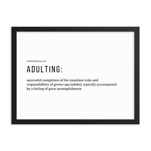 Framed poster Adulting Definition