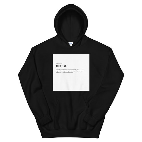 Unisex Hoodie Black w/ White Adulting Definition