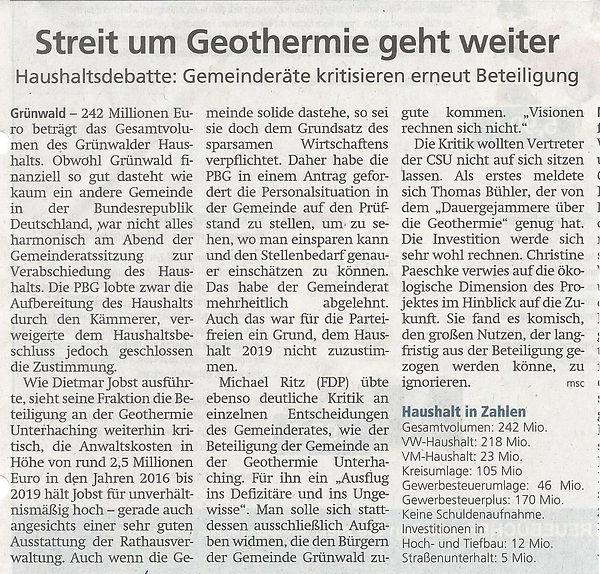 12.06.2019 Streit um Geothermie geht wei