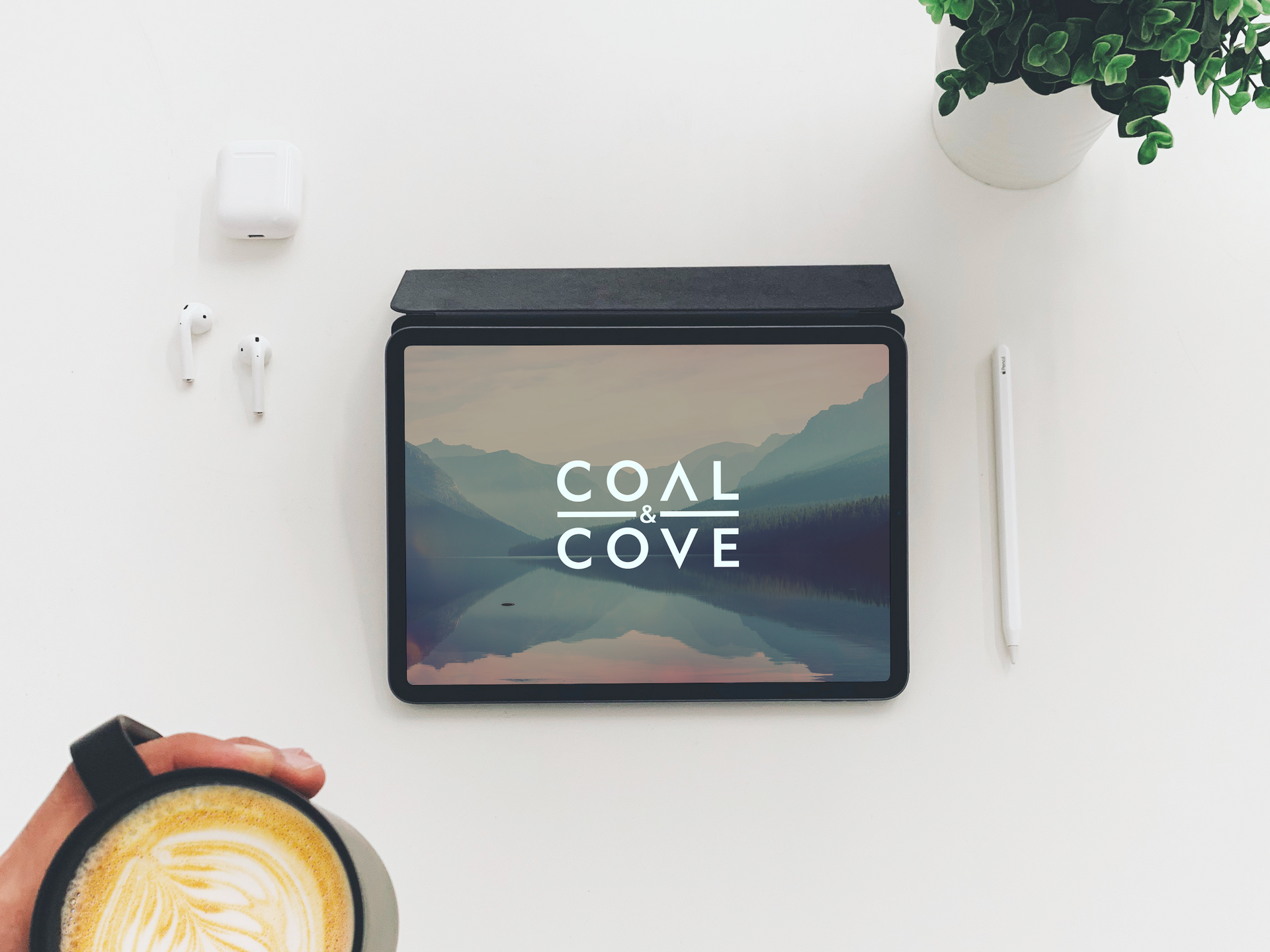 Free Top View Coffee With iPad Mockup.pn