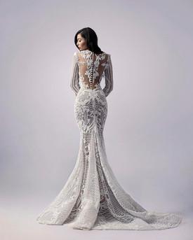 White 3D Lace Gown w/ Illusion Back
