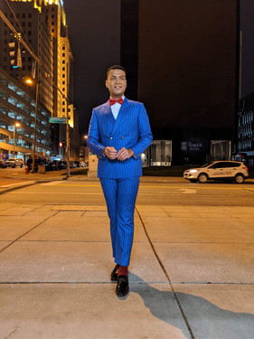 French Blue Double Breasted Pinstripe Suit
