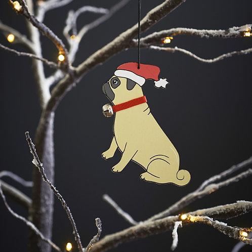 Pug Christmas Tree Decoration