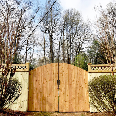 Custom Wood Privacy with Lattice Accent & Arched Gate