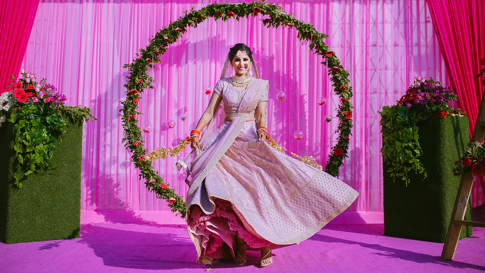 lilac pink indan wedding lehenga