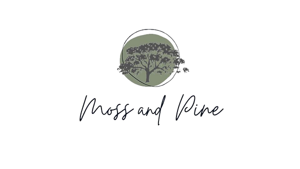 The moss and pine logo with a green background and a tree with spanish moss.