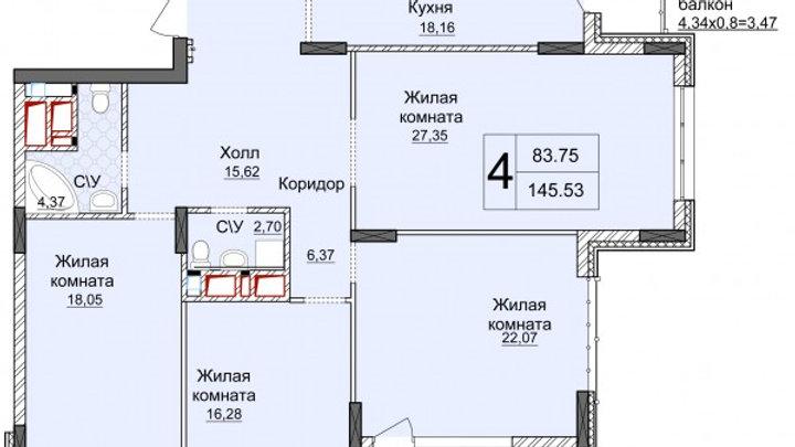 Продажа четырехкомнатной квартиры без ремонта ЖК Новопечерские Липки