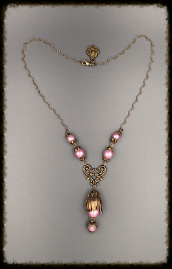 Lilac and antique gold necklace