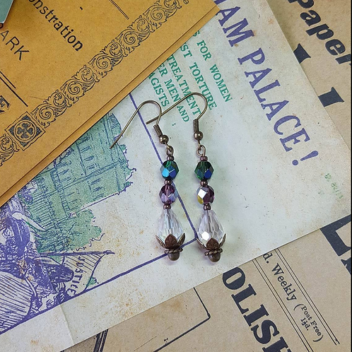 Suffragette inspired vintage gold earrings