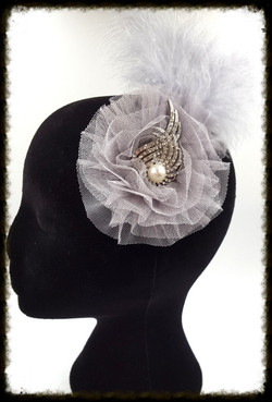 Grey fether and diamante fascinator