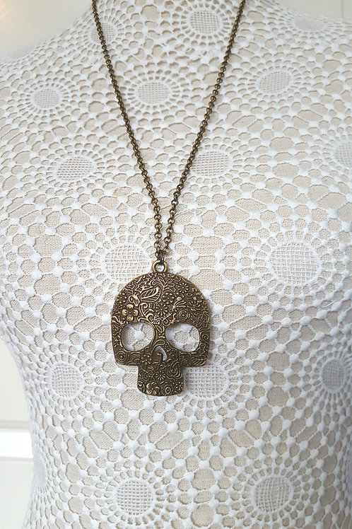Bronze Ornate Skull Necklace