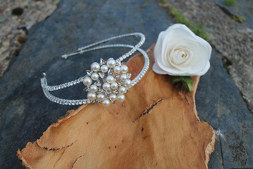 Pearl Blossom, Double Row Diamante Headband