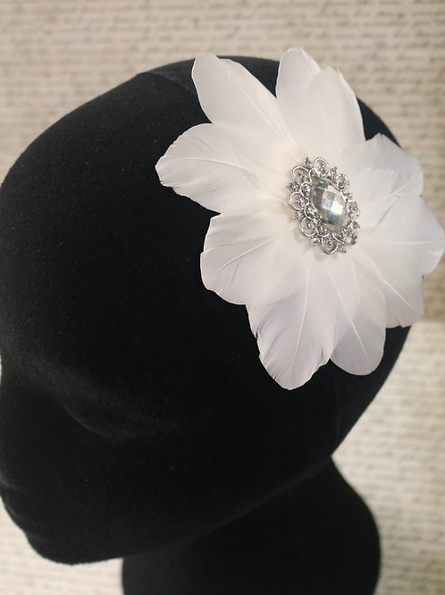 White Feather Diamante and Crystal Hair Clip