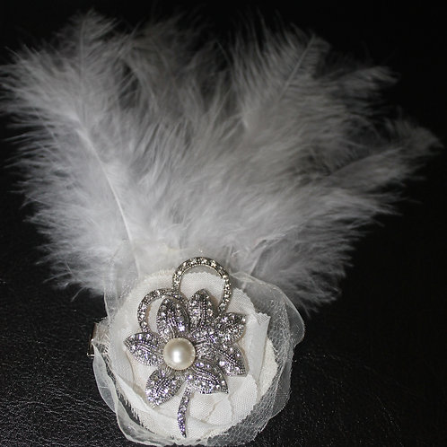 Flapper Inspired Diamante Feather Hair Slide
