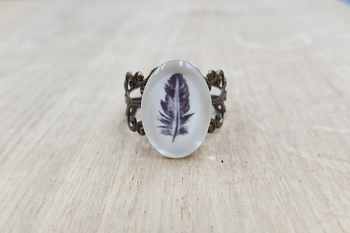 Feather Filigree Brass Ring
