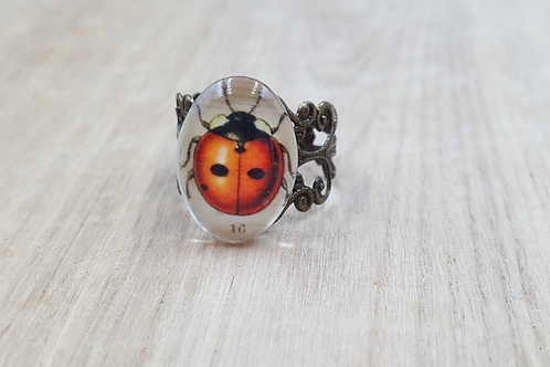 Ladybird Filigree Brass Ring