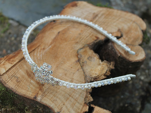 Diamante and Crystal Flower Cluster Side headband