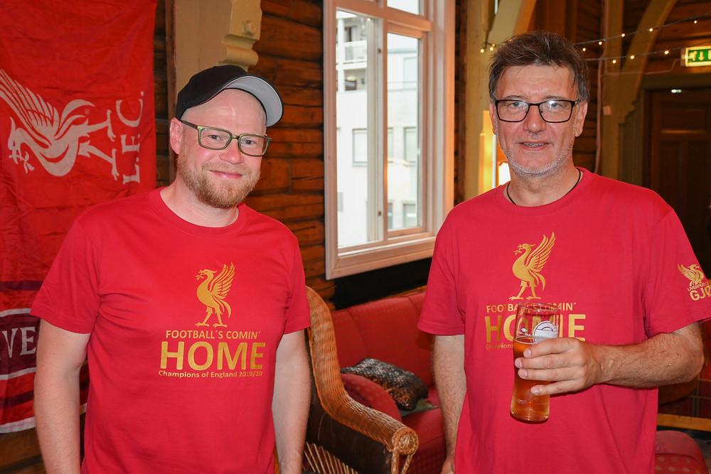 Festivalsjef Einar Skare til høyre, sammen med økonomiansvarlig Atle Brobakken  Foto: Jaran Pedersen