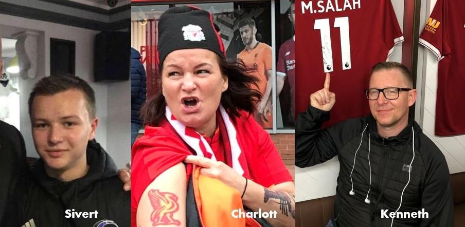 Disse tre supporterne skal på Liverpoolfestivalen. Les mer om dem ved å klikke på bildet