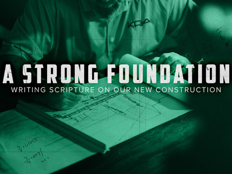 Writing scripture on our new construction