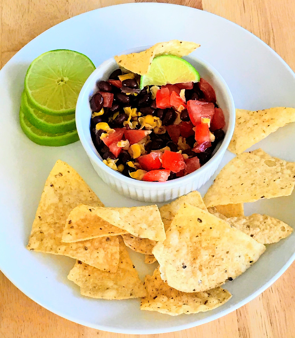 black bean salsa with limes and tortilla chips
