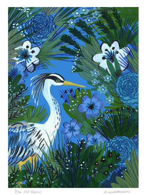 Mr Heron - Limited Edition Colour Print