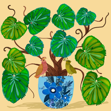 Plant Leaves with fancy birds - Kay Widd