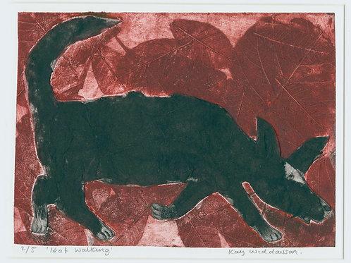 Leaf Walking - Collagraph Print