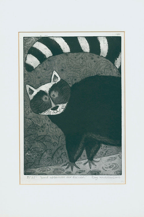 Mr Raccoon- Aquatint and Drypoint Etching
