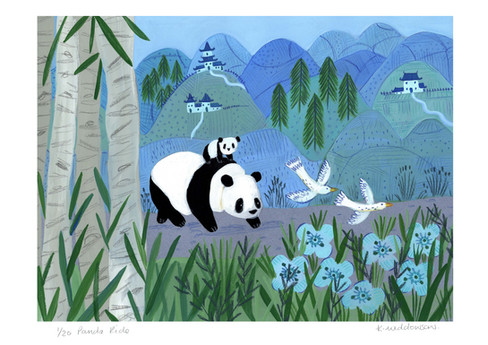 Panda Ride A3 colour print image size 34
