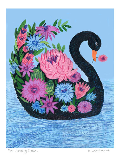 Flowery Swan - Limited Edition Colour Print