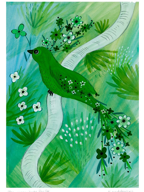 Green Flower Bird - Limited Edition Colour Print