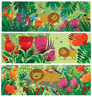 Lion and Flowery Jungle - Kay Widdowson.
