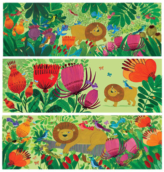 Lion and Flowery Jungle - Kay Widdowson.