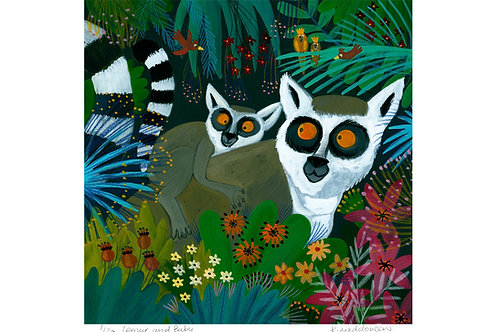 Lemur and Baby- Limited Edition Colour Print