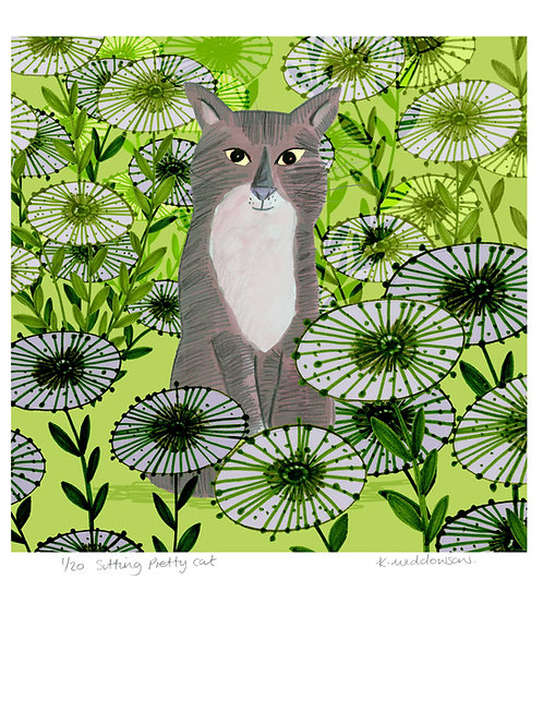 Sitting Pretty Cat - Limited Edition Colour Print