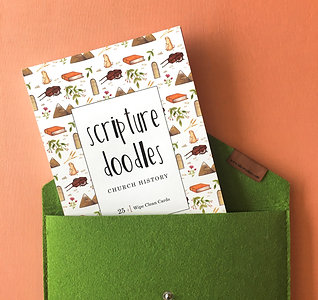 Church History Scripture Doodle Dry Erase Cards WITH green felt envelope