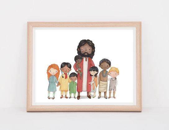 8x10 Print of (dark skinned) Jesus with children from around the world