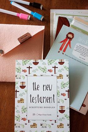 New Testament Scripture Doodles Dry Erase Cards Set of 26 WITH felt envelope