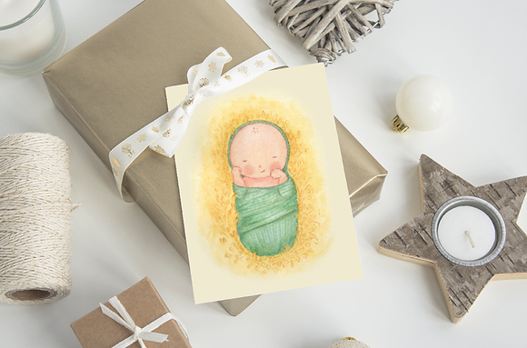 Baby Jesus Christmas Card - 4x6 PDF download