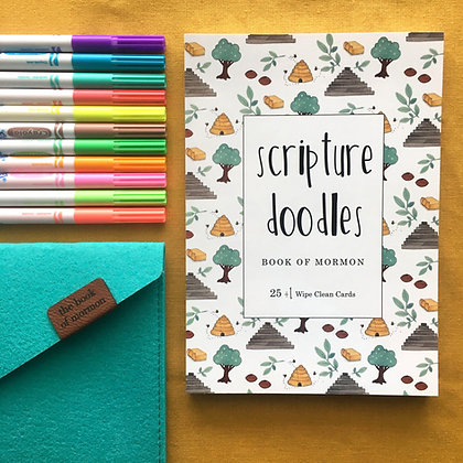 The Book of Mormon Scripture Doodles DryErase Cards Set of 26 WITH felt Envelope
